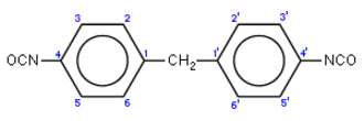 Isocyanate - Methylene diphenyl 4,4'-diisocyanate (MDI) Numbering of the ring atoms shown with blue numbers