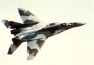 Soviet Air Forces - Soviet MiG-29 Fulcrum fighter aircraft in 1989.