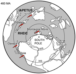 Middle Ordovician South Polar paleogeography - 460 Ma.png