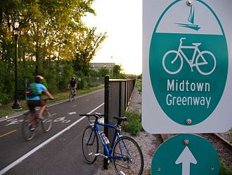 Midtown Greenway - Signs marking the corridor