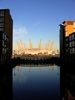 The dome, seen from the Isle of Dogs.