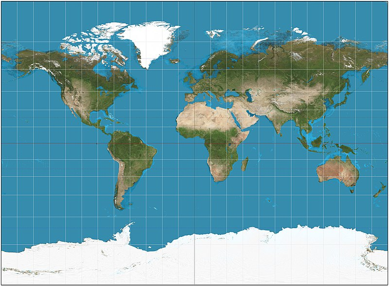 A Miller projection of the Earth. Miller projection SW.jpg