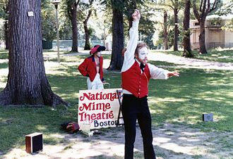 Mime artist - Whitefaced mime on Boston Common in 1980