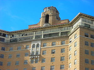 Baker Hotel (Mineral Wells, Texas) - The Baker Hotel bell tower and ballroom.