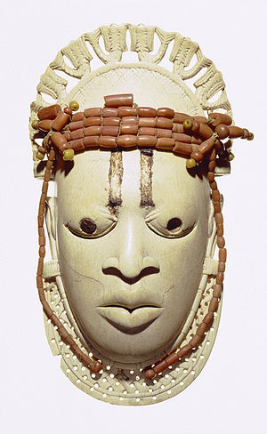 Benin ivory mask - Three of the ivory masks, from left to right:  Metropolitan Museum of Art (New York), British Museum (London), Linden Museum (Stuttgart)