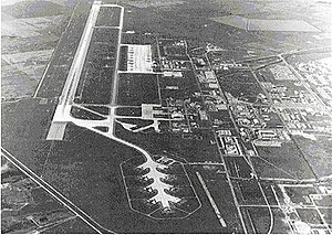 "Minot Air Force Base - Approaching runway 29 at Minot AFB in 1973, alert ramp ""Christmas Tree"" at bottom center"