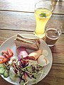 Mixed salad with toast, egg, slices of ham and cheese in Ruifang, New Taipei.jpg