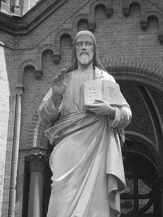 Gethsemane Church - Statue of the Benedictive Christ, rescued from the exploded Church of Reconciliation.