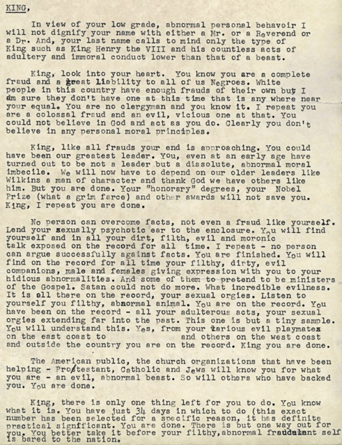 A letter sent anonymously by the FBI to Martin Luther King Jr. in 1964.