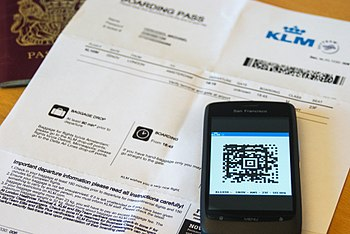English: Photo of a mobile boarding pass (a 2D...