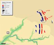 Day 3, Phase 1. showing Byzantine left wing and center pushing back respective Muslim divisions.