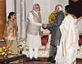 Mohd. Hamid Ansari, the Prime Minister, Shri Narendra Modi and the Union Minister for External Affairs and Overseas Indian Affairs.jpg