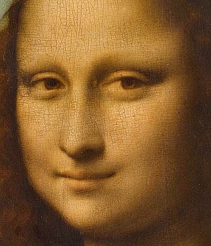 Sfumato - Detail of the face of Mona Lisa showing the use of sfumato, particularly in the shading around the eyes.