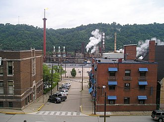 Monessen, Pennsylvania - View of downtown towards the coke works in Monessen, 2008.