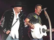 Eddie Montgomery (left) and Troy Gentry at the Gretna Heritage Festival in 2008