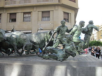 Running of the bulls - Monument in Pamplona