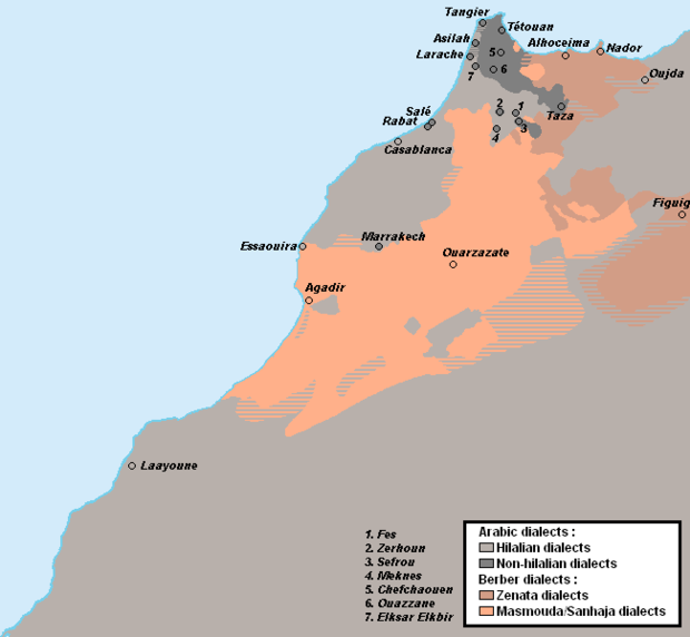 Linguistic map of Morocco Morocco - Linguistic map.png