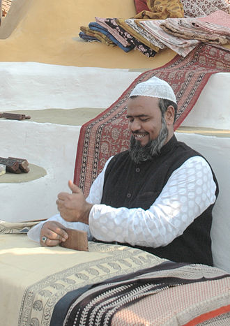Mohammed Yusuf Khatri - Giving live demo of traditional Bagh Hand Block Printing on Bagh Print Tableau  Delhi Republic Day parade, 2011
