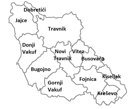 Municipalities of Central Bosnia Canton