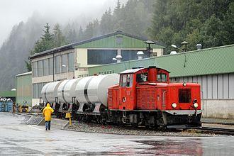 Mur Valley Railway - Diesel locomotive VL13 at Murau in 2006.