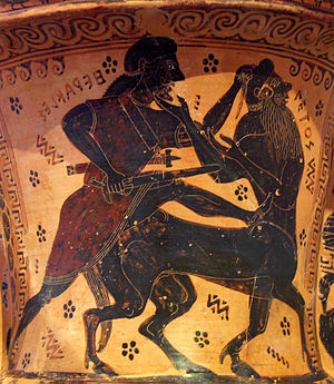 Nessos Painter - On the neck of this amphora, the painter depicted Nessos fighting Heracles. The figure is also marked with the name 'Netos'.