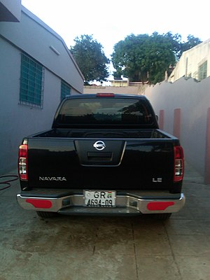 Vehicle registration plates of Ghana - Image: NISSAN NAVARA