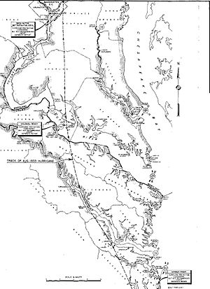 1933 Chesapeake–Potomac hurricane - Track of the 1933 Hurricane across Virginia and Maryland