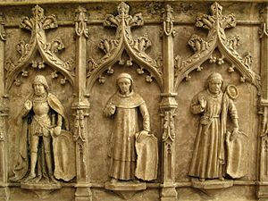 Nottingham alabaster - detail of the tomb of Sir Ralph Fitzherbert, d. 1483, showing some of his children.