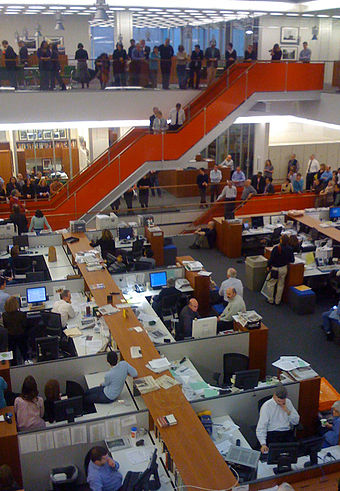 A speech in the newsroom after announcement of Pulitzer Prize winners, 2009 NYT News Room Pulitzer speech 2009.jpg