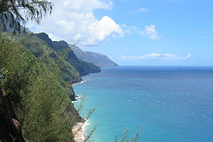 View along Na Pali Coast (from trail) with cli...