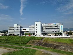 Nakama City Office from Ongabashi Bridge 20160618-2.jpg