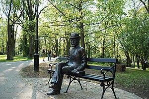 Nałęczów - Bolesław Prus sculpture, outside the Museum dedicated to the author in the Małachowski Palace.