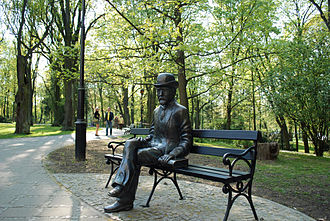Nałęczów - Bolesław Prus sculpture, outside the Museum dedicated to the author in the Małachowski Palace.