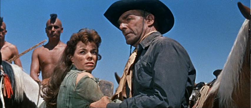 Nancy Gates and Randolph Scott in Comanche Station