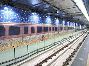 Nangang Station - The station platform, with artwork by Jimmy Liao on the platform wall.