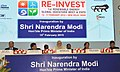 Narendra Modi at Re-Invest 2015 India is graduating from Megawatts to Gigawatts in Renewable Energy production, in New Delhi. The Minister of State (Independent Charge) for Power, Coal and New and Renewable Energy.jpg