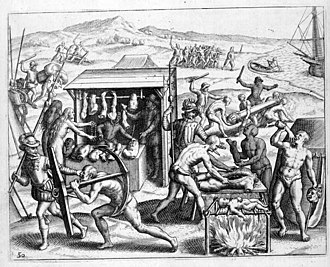 Theodor de Bry - Depiction of Spanish atrocities in the New World, as recounted by Bartolomé de las Casas in Narratio Regionum indicarum per Hispanos Quosdam devastatarum verissima.