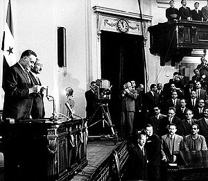 United Arab Republic presidential confirmation referendum, 1965 - Nasser being sworn in for his second term, March 1965