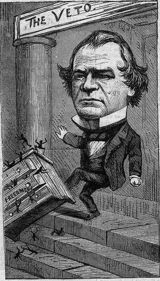 Presidency of Andrew Johnson - Thomas Nast cartoon of Johnson disposing of the Freedmen's Bureau as African Americans go flying