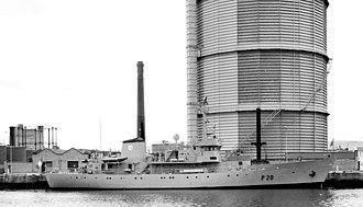 LÉ Deirdre (P20) - Image: Naval boat and gasholder, Dublin