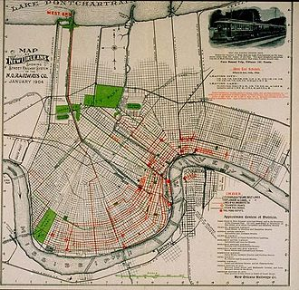 Streetcars in New Orleans - Map of New Orleans Showing Street Railway System of the New Orleans Railways Company, January 1904.