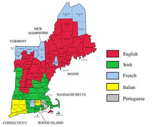 Bristol County, Massachusetts - Largest self-reported ancestry groups in New England.  Americans of Portuguese descent plurality shown in grey.
