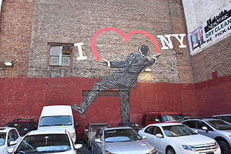 """I Love New York - Nick Walker's """"Love Vandal"""" at 17th Street and 6th Avenue in Manhattan"""
