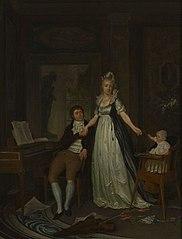 Portret van Erdwin Adrianus de Jongh (1777-1833) met Theodora Jordens (?-1807) en hun dochter Lucia