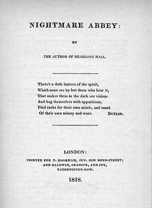 Nightmare Abbey - Title page of the first edition (1818)