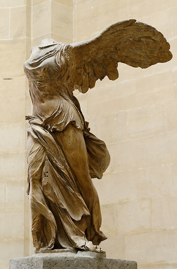 The Nike of Samothrace is considered one of the greatest masterpieces of Hellenistic art. Nike of Samothrake Louvre Ma2369 n4.jpg
