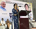 Nirmala Sitharaman addressing the participants, on the occasion of the 3rd International Day of Yoga – 2017, organised by the Ministry of AYUSH & Yoga Day Celebrations Committee, at Palakkad, Kerala.jpg