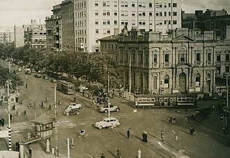 Adelaide - Intersection of North Terrace and King William Street viewed from Parliament House, 1938.