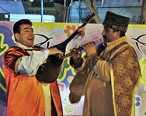 Bağlama - Azerbaijani Saz player during Novruz festivities