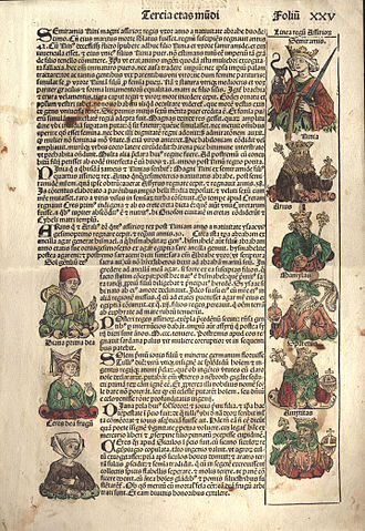 Anton Koberger - A page from the Nuremberg Chronicle, leaf 25(page 49) printed by Anton Koberger circa 1492.